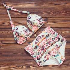 Amart Women Flower Print High Waist Bathing Suits Halter Push Up Bikini Set Swimming Beach Wear - intl