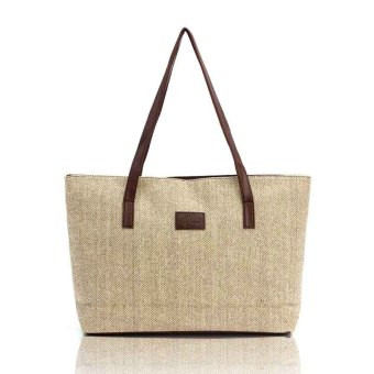 Amart Women Handbag Canvas Shoulder Bags Appliques Portable Bag Linen Casual Totes