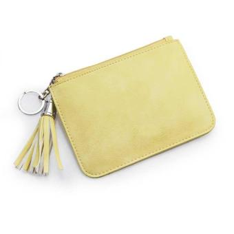Amart Women Ultra-thin Fresh Coin Bags PU Leather Key Bag Ladies Small Wallet Zipper (Yellow) - intl