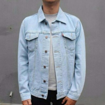 AN Jaket Jeans Pria Hight Quality [Light blue/bioblits]