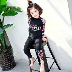 Anak-anak Gadis Bunga Pola Lucu Wetsuit Patchwork Tabir Surya Lengan Panjang Swimsuit (Hitam)-Intl
