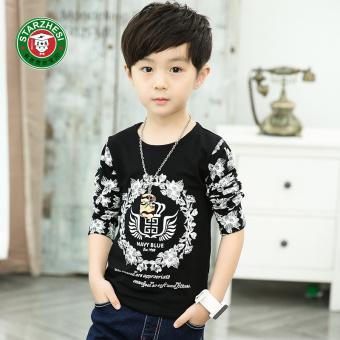Anak laki-laki lengan panjang leher bulat anak t-shirt baru t-shirt