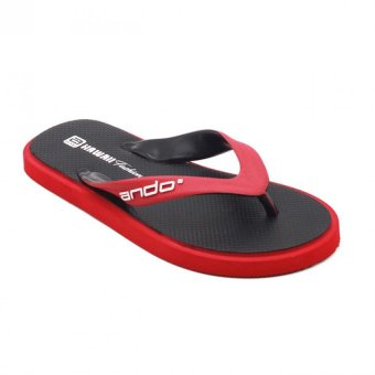 Ando Sandal Jepit Pria New Hawaii Fashion - Black/Red