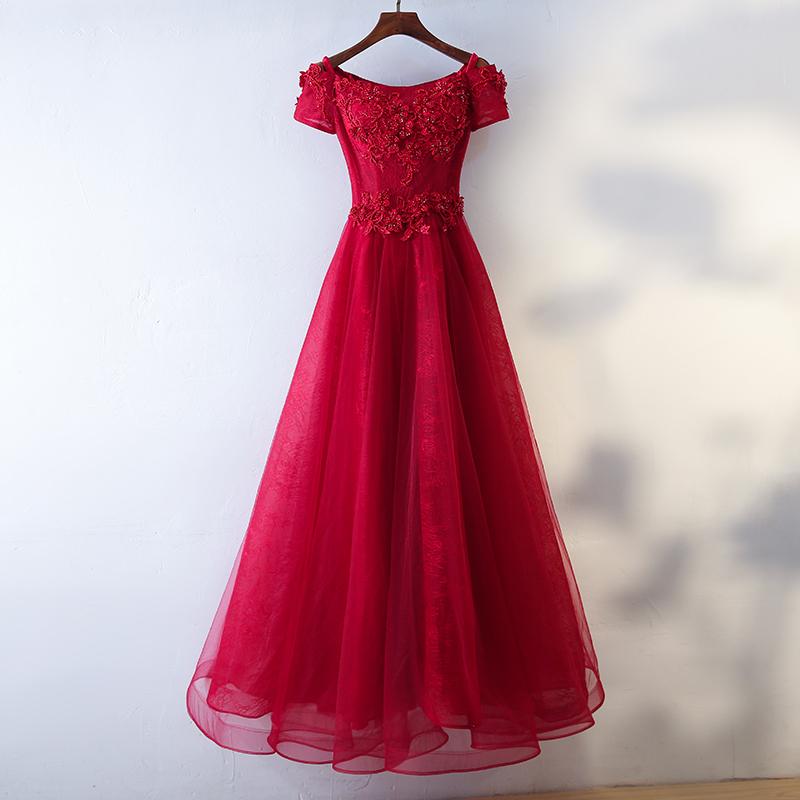 Anggur merah pengantin baru Slim gaun malam toast pakaian (Bagian panjang anggur merah)
