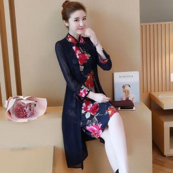 Musim Gugur Baru Kerah Rendah Lengan Panjang Ditingkatkan Cheongsam Source · Angin Cina cetak ditingkatkan gaun