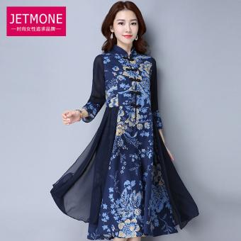 Angin Nasional katun lutut baru gaun ditingkatkan gaun cheongsam (Safir biru) Terakhir Hot Deals