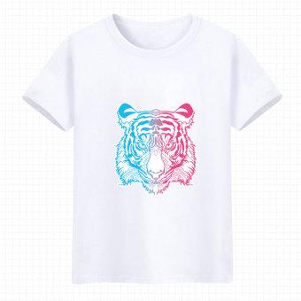 Gambar Animasi Zhou Bian warna singa musim panas pria dan wanita t shirt ( Putih 3
