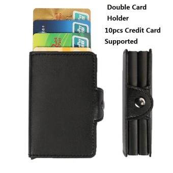 Anti-Theft Logam Ganda RFID Pemegang Kartu Kredit dengan RFID Blocking PU Kulit Mini Dompet