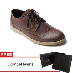 Arfu wingtip classic Brown formal free dompet