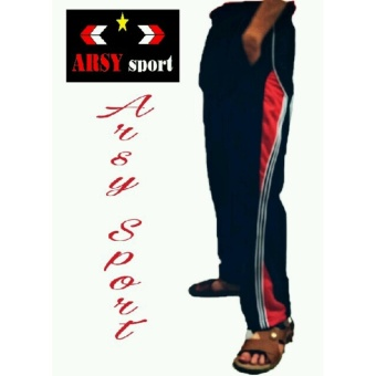 arsy collections celana training model lis 3 hitam merah