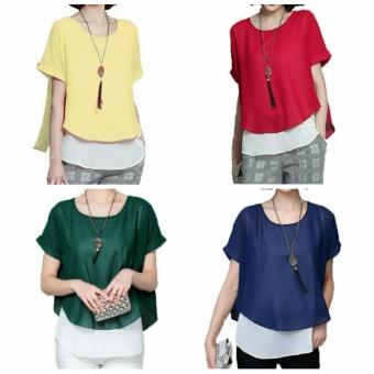 Atasan blouse kemeja wanita jumbo shirt Inava - merah