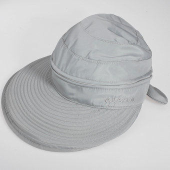 Audew Detachable Women Summer Golf Anti-UV Wide Visor Brim Bowknot Beach Sun Hat Cap Light grey - Intl