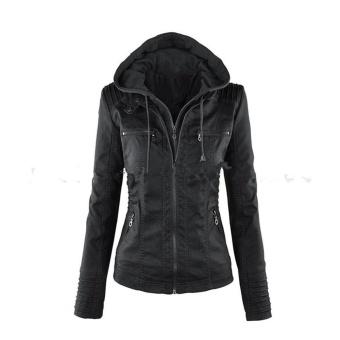 Autumn and Winner New Female Locomotive Short Hooded Leather JacketShort Zipper Paragraph Slim Pu Jacket Stylish