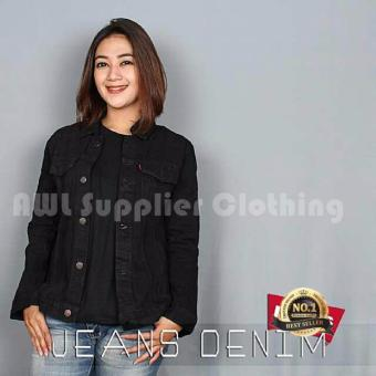 AWL Jaket Jeans Cewe [Hitam] Denim Washing