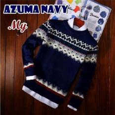 Azam Clobber - Sweater Pria Rajut - Azuma Navy Sweater - Rajut Tribal