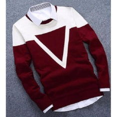 Azam Clobber - Sweater Pria Rajut - Triangel Maroon Sweater - Rajut Tribal