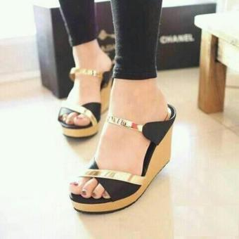 azkashoes - sandal wedges x hitam