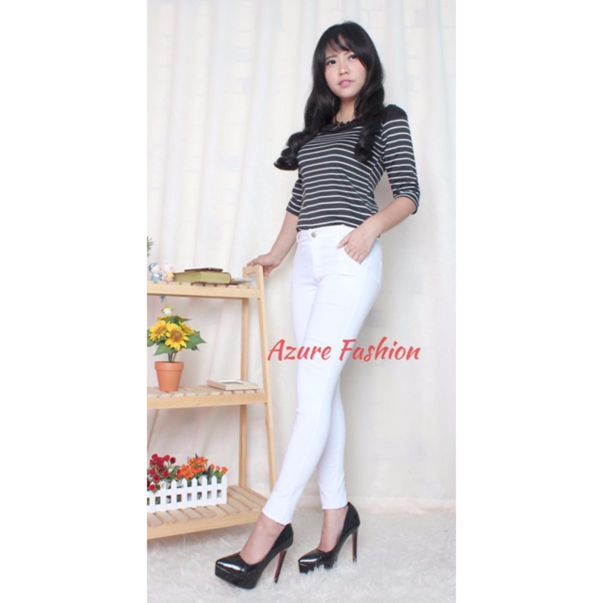 Pelacakan Harga Azure Fashion Clowy Pants Putih Bawahan Wanita Star Legging Celana Panjang