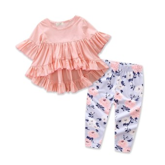 Baby Girl Clothes Summer New Style Cute Girls Clothing Set Pink Fashion Irregular Tops+Floral