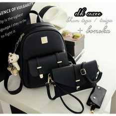 Backpack Set Korean Style 3 in 1 Double Clasp (Backpack / Tas Ransel 3 in 1, Sling Bag / Tas Selempang, Pouch / Dompet) Black