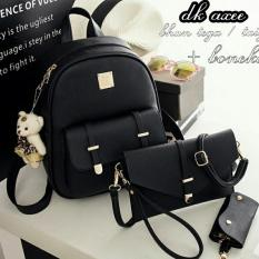 Backpack Set Louis 3 in 1 Double Clasp (Tas Ransel 3 in 1, Sling Bag / Tas Selempang, Pouch / Dompet) - Black