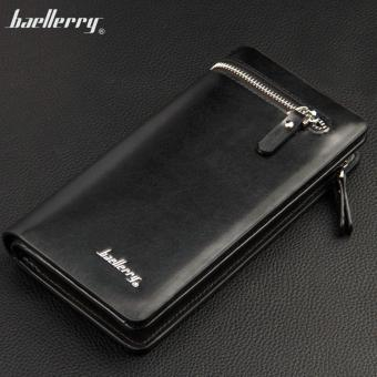 Baellerry Dompet Fashion Import PU leather business long walletwith zipper - Hitam