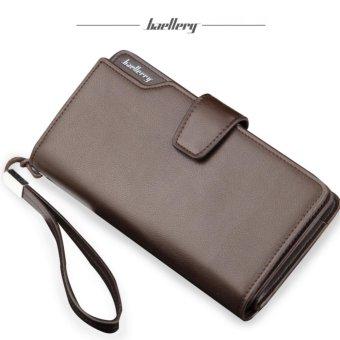 Baellerry Dompet Fashion Import PU leather premium long wallet withzipper- Coklat