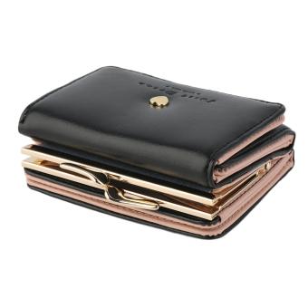 Baik Kopling Dompet Kulit Wanita Lipat Tas Tangan Pendek Pemegang Kartu Hitam