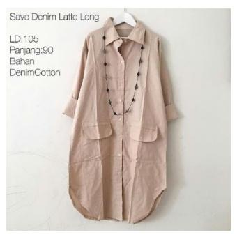 Baju Atasan Wanita Tunik Baju Muslim Blus Muslim Denim Latte - BM87