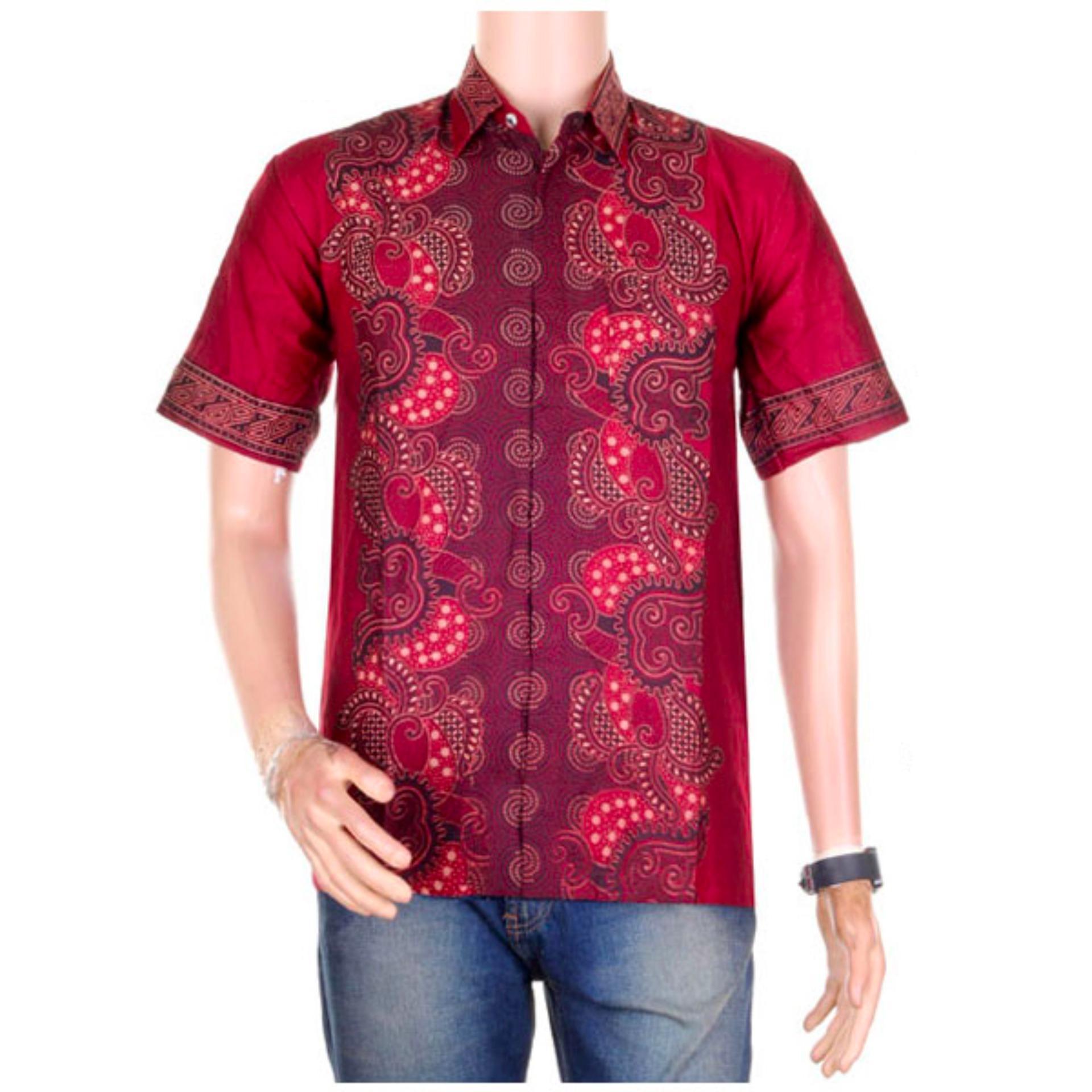 Baju Batik Casual Pria Lengan Pendek Katun Vi5 Merah Update Salt N Pepper Kemeja Snp 069 Abu Muda Xl