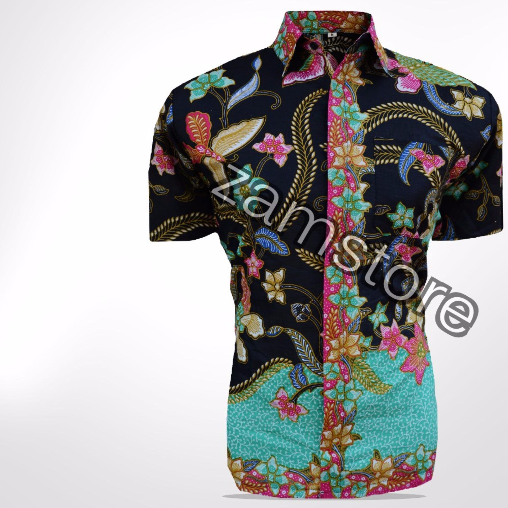 Bahan Kualitas Tinggi Baju Batik Pria Eksklusif Kemeja Lengan Pendek Modern Motif Kembang Kenangan Warna Hitam