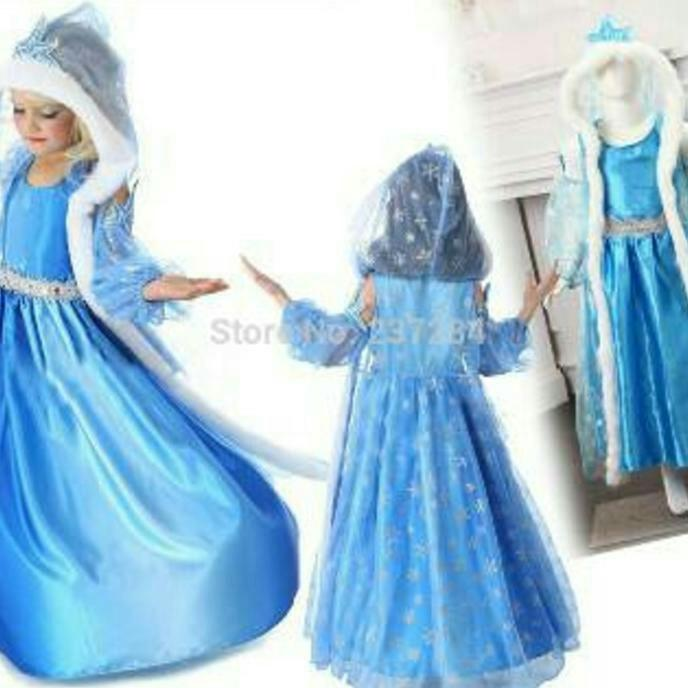 Baju dress anak kostum frozen jubah winter
