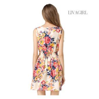 Baju Dress Gaun Wanita Banyak Motif Import Murah - Pink Floral - 3