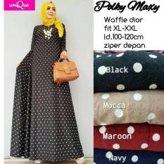 Baju Gamis Long Dress Maxi Wanita Muslim polkadot polky fit jumbo XXL