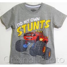 Baju Kaos Anak Laki laki Truck Monster Stunts Abu Size 1 - 6 Tahun
