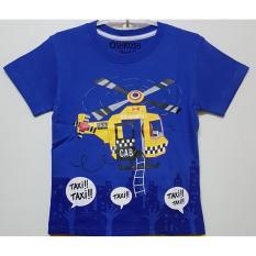 baju kaos anak laki taxi heli biru size 1 - 6 tahun