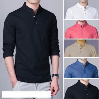 Baju Kemeja Koko Shaquille Polos Hitam Premium
