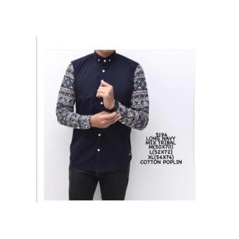 baju kemeja pria | kemeja lengan panjang navy mix batik rajut