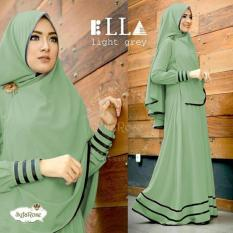 Baju muslim/pakaian wanita muslim/Gamis set Ella syari Matt Full Jersey size L - Besar (14 color)