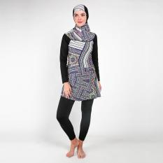 Baju Olahraga Renang Wanita Muslimah Black White