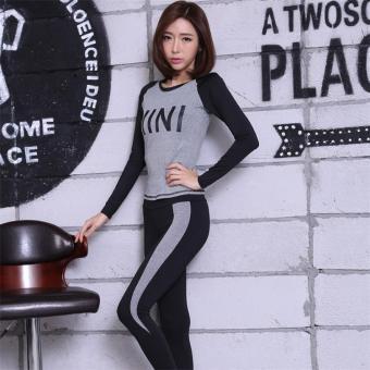 Baju Olahraga Wanita Ketat Santai Versi Korea (Abu-abu abu-abu jas AB32)