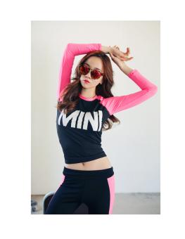 Baju Olahraga Wanita Ketat Santai Versi Korea (Merah muda lengan panjang A32)