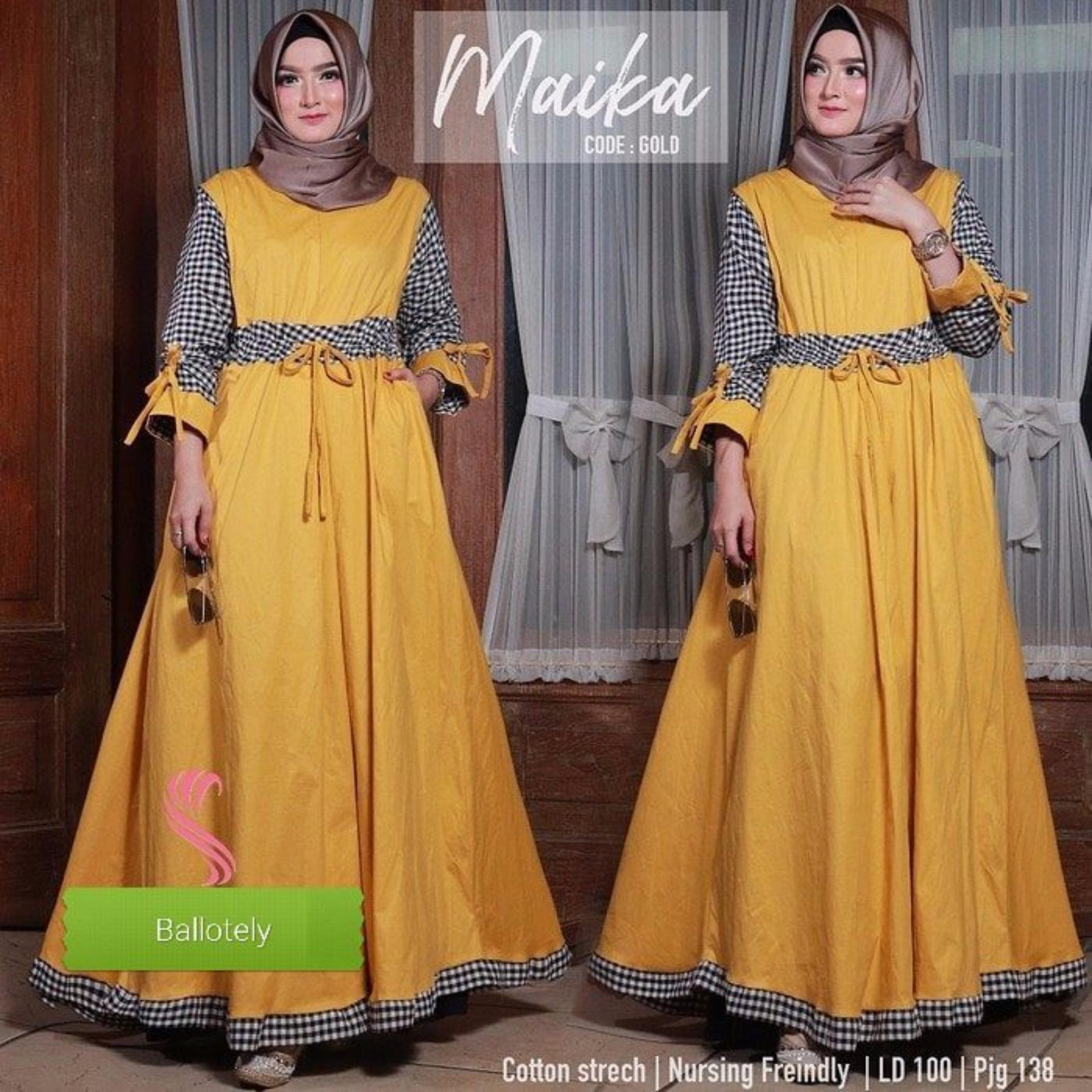 Gallery Produk Baju Original Gamis Maika Dress Panjang Muslim Casual Wanita Pakaian Hijab Modern Modis Trendy Warna Mustard