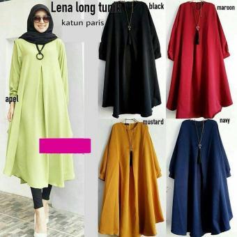Baju Original Lena Long Tunik Katun Atasan Wanita Muslim Pakaian Hijab  Modern Trendy Navy 0d88a399ce