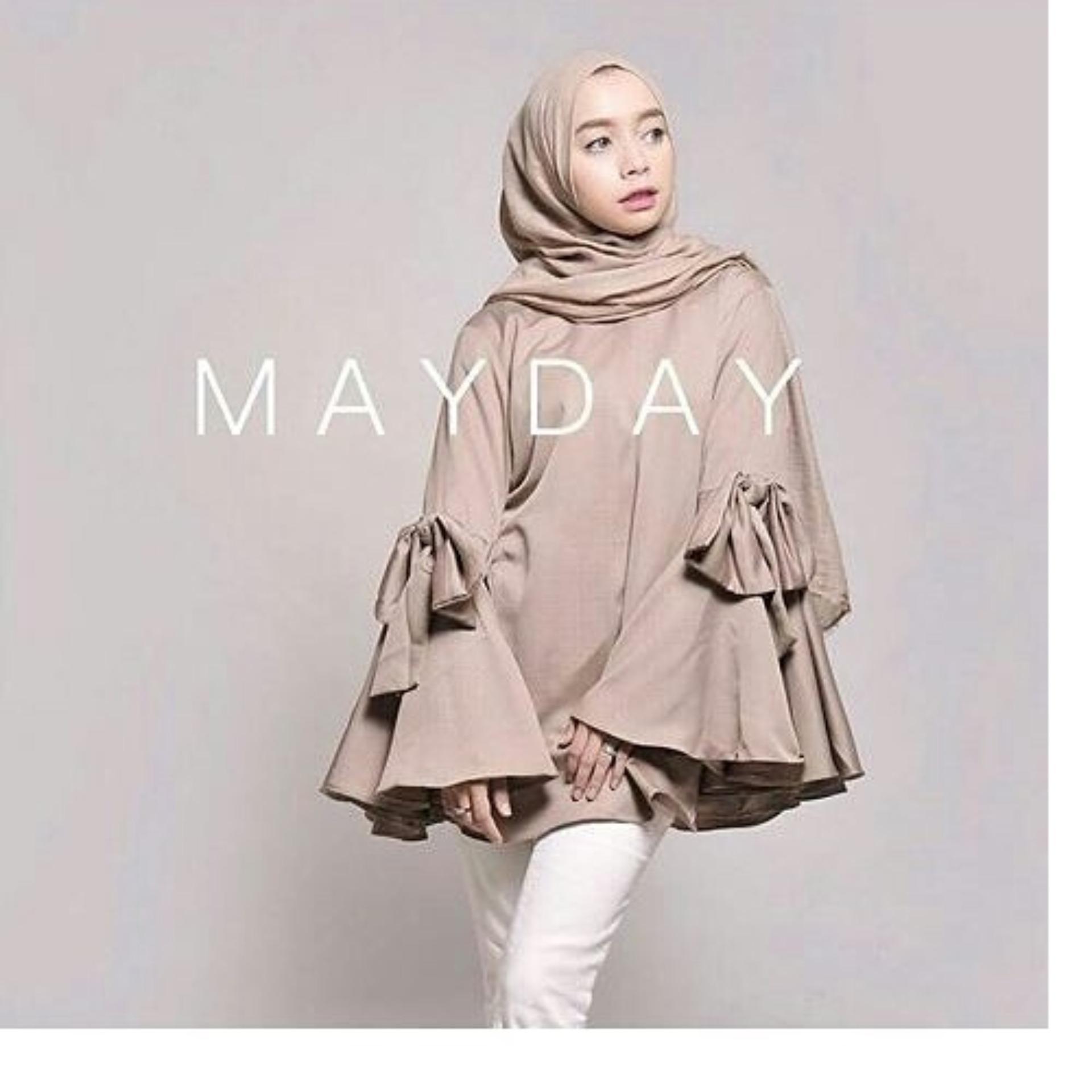 Baju Original Lulabi Blouse Baju Atasan Wanita Muslim PanjangPakaian Kerja  Santai Casual Warna Mocca 92d92b7168