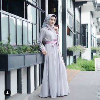 Baju Original Ramona Dress Gamis Wolfice Gaun Pesta Panjang BajuHijab Terusan Pengajian Wanita Muslimah Warna Grey