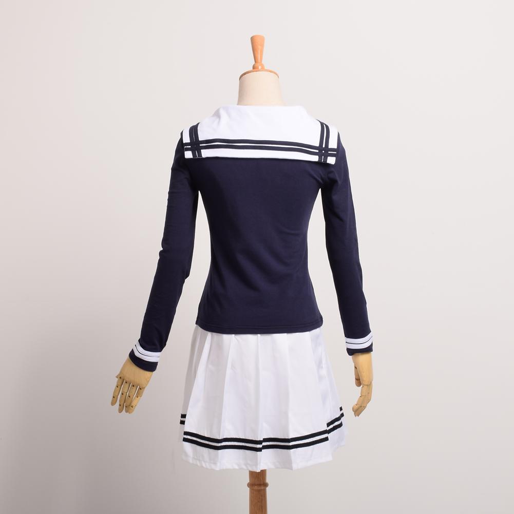 Baju pelaut anak sekolah JK baju gaun lengan panjang Unifrom(kemeja biru tua dan putih