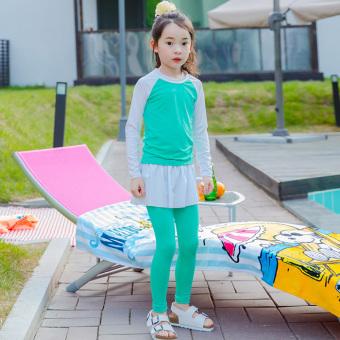 Baju Renang Anak-Anak Model Terpisah Cepat Kering (Biru tua + Hong)