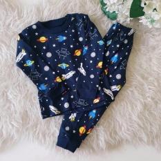 Baju setelan Piyama set Space Dark Blue Navy baby kid (Dark blue / 2,3,4-5 tahun )