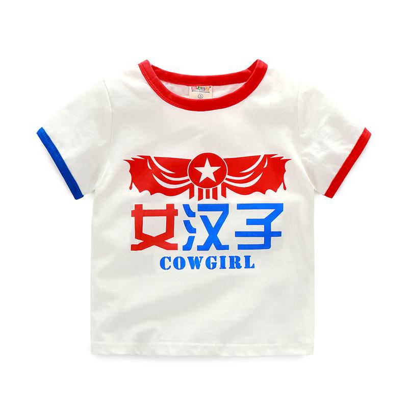 Baobao anak laki-laki katun lengan pendek anak-anak baru t-shirt t